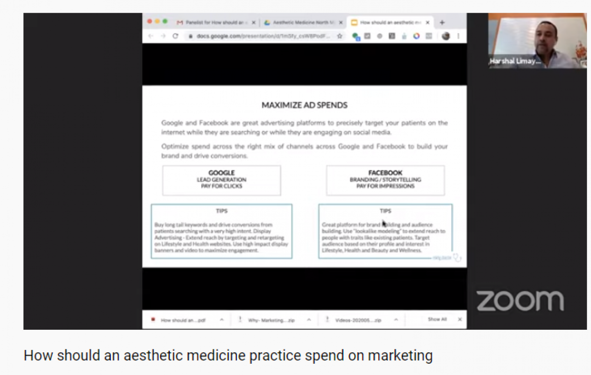 How should an aesthetic medicine practice spend on marketing